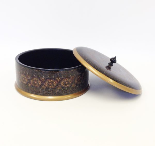 Wooden Decorating Box with Embroidered Carving