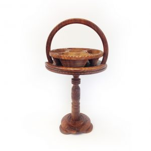 Hand Carved Folding Basket with Stand
