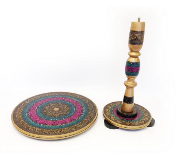Hand Embroidered Decorative Table (Gold)
