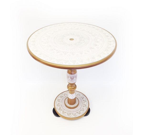 Hand Embroidered Decorative Table (White)