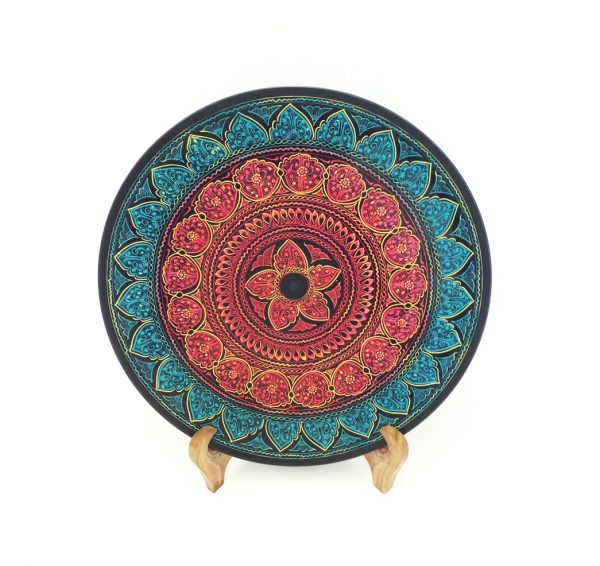 Blue Maroon Wooden Plate with Stand
