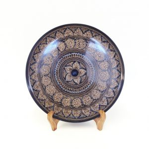 Gold Black Wooden Plate with Stand