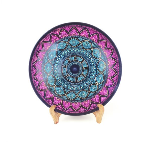 Purple Blue Wooden Plate with Stand